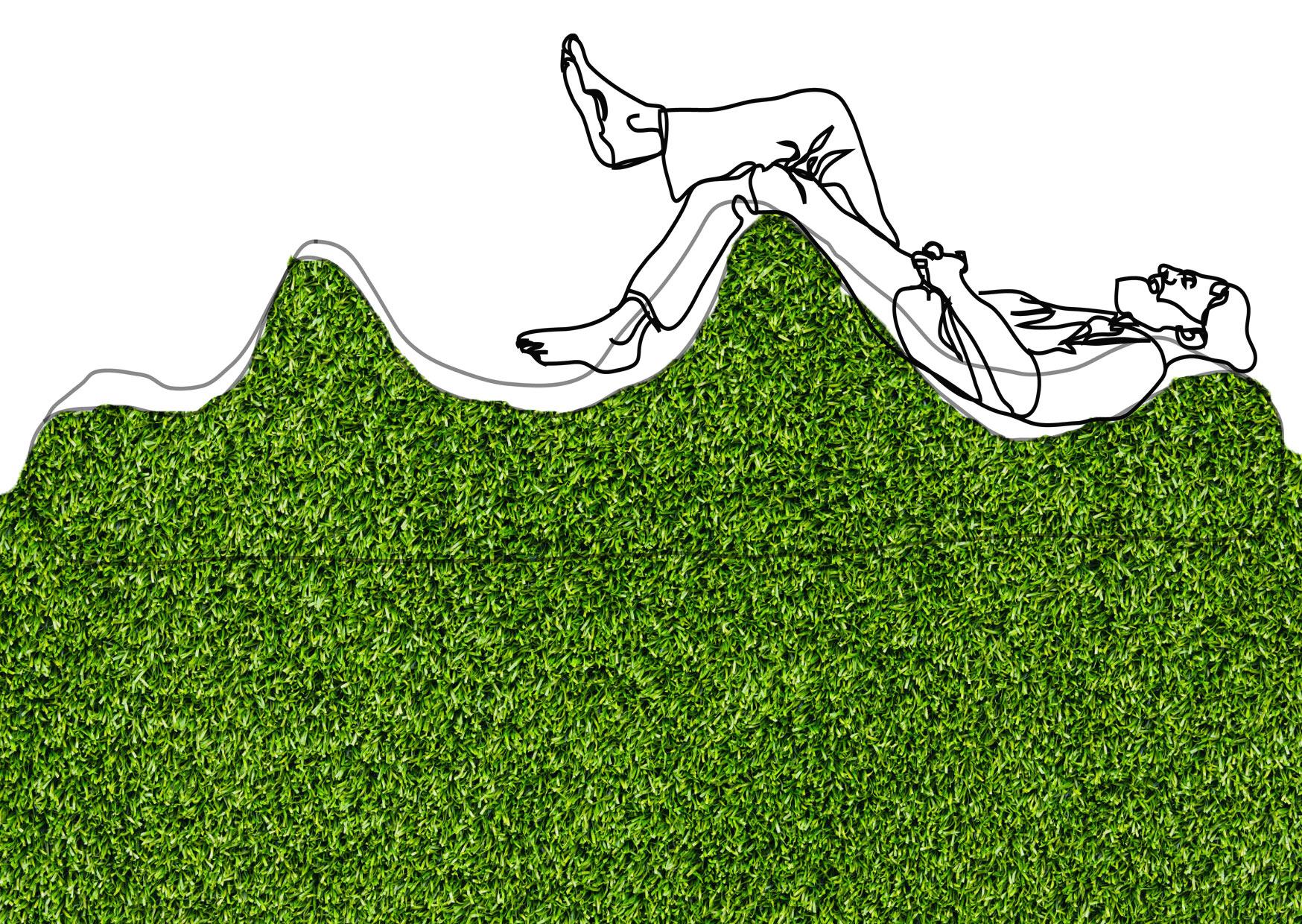 MOUNGING man on green